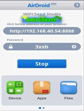 انتقال فایلها و کنترل گوشی از طریق WiFi(وایرلس) با AirDroid v1.1.0